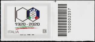 F.I.S.I. - Federazione Italiana Sport Invernali - Centenario della fondazione - francobollo con codice a barre n° 2057 a DESTRA in alto