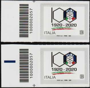 F.I.S.I. - Federazione Italiana Sport Invernali - Centenario della fondazione - coppia di francobolli con codice a barre n° 2057 a SINISTRA alto-basso