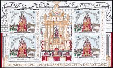 Vaticano 2016 - 350° Anniversario dell'elezione di Maria Consolatrice degli Afflitti a Patrona del Lussemburgo - minifoglio