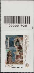 VIII Centenario dell'incontro di San Francesco con il sultano d'Egitto - francobollo con codice a barra n° 1920 in ALTO a destra