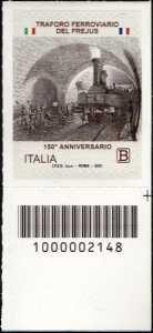 Traforo ferroviario del Frejus - 150° Anniversario dell'inaugurazione - francobollo con codice a barre n° 2148 in BASSO a destra