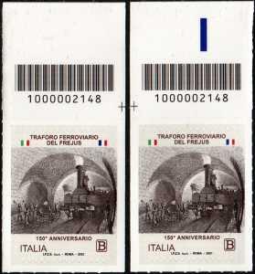 Traforo ferroviario del Frejus - 150° Anniversario dell'inaugurazione - coppia di francobolli con codice a barre n° 2148 in ALTO destra-sinistra
