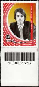 Le Eccellenze italiane dello spettacolo  - Giorgio Gaber - francobollo con codice a barre n° 1963 in BASSO a destra