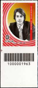 Le Eccellenze italiane dello spettacolo  - Giorgio Gaber - francobollo con codice a barre n° 1963 in BASSO a sinistra