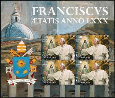 Vaticano 2016 -  LXXX Genetliaco di Papa Francesco - minifoglio