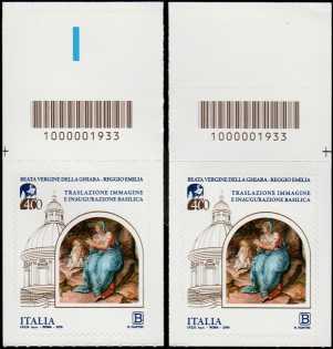 Immagine della Beata Vergine della Ghiara - IV Centenario della traslazione e dell'inaugurazione della Basilica -coppia con codici a barre n° 1933 in ALTO destra-sinistra