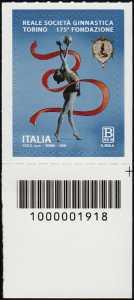 Reale Società Ginnastica Torino - 175° Anniversario della fondazione - francobollo con codice a barre n° 1918  in BASSO a destra