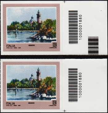 2018 - Turistica  45ª serie - Grado (GO) - coppia  con codice a barre n° 1880  Destra Alto-basso