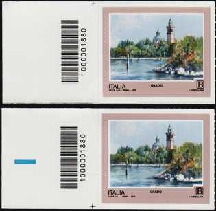 2018 - Turistica  45ª serie - Grado (GO) - coppia  con codice a barre n° 1880  Sinistra Alto-basso