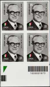Presidenti della Repubblica : Giovanni Gronchi - 40° Anniversario della scomparsa - quartina con codice a barre n° 1873