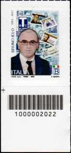 Bruno Ielo - 3°  Anniversario dell'uccisione - francobollo con codice a barre n° 2022 in BASSO a sinistra