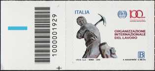ILO - Organizzazione Internazionale del Lavoro - Centenario della istituzione - francobollo con codice a barre n° 1929 a SINISTRA in basso