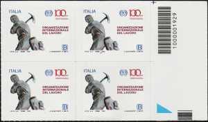 ILO - Organizzazione Internazionale del Lavoro - Centenario della istituzione - quartina con codice a barre n° 1929