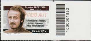 Il senso civico - Lotta alla mafia : Peppino Impastato - francobollo con codice a barre n° 1862 a DESTRA in alto