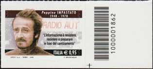 Il senso civico - Lotta alla mafia : Peppino Impastato - francobollo con codice a barre n° 1862 a DESTRA in basso