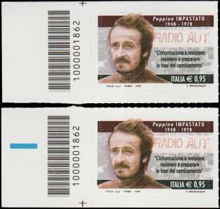 Il senso civico - Lotta alla mafia : Peppino Impastato - francobollo con codice a barre n° 1862 a SINISTRA alto-basso