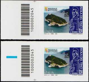 Patrimonio naturale e paesaggistico - Isola del Tino - coppia di francobolli con codice a barre n° 2045 a SINISTRA alto-basso