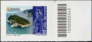 Patrimonio naturale e paesaggistico - Isola del Tino - francobollo con codice a barre n° 2045 a DESTRA in alto