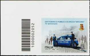 Ispettorato di Pubblica Sicurezza Vaticano - 75° Anniversario della istituzione - francobollo con codice a barre n° 2052 a SINISTRA in alto