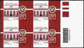 2014 - 80° Anniversario della fondazione dell'ISPI - Istituto per gli Studi di Politica Internazionale - quartina con codice a barre n° 1578