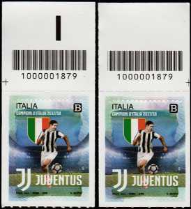 Juventus Campione d'Italia 2017-2018 - coppia con codice a barre n° 1879 in Alto Destra-Sinistra