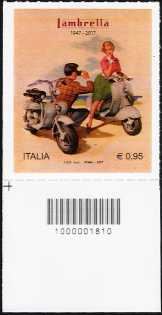 Lambretta - 70° anniversario della produzione - francobollo con codice a barre n° 1810