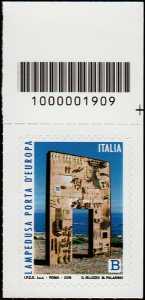 Lampedusa, porta d'Europa - francobollo con codice a barre n° 1909 in ALTO a destra