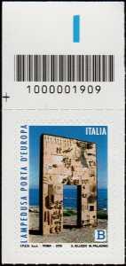 Lampedusa, porta d'Europa - francobollo con codice a barre n° 1909 in ALTO a sinistra