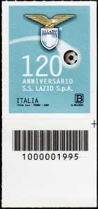 S.S. Lazio S.p.A. - 120° Anniversario della fondazione - francobollo con codice a barre n° 1995 in BASSO a destra