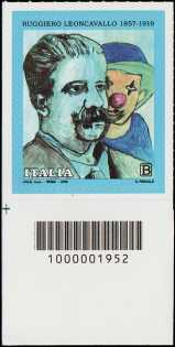 Ruggiero Leoncavallo - Centenario della scomparsa - francobollo con codice a barre n° 1952  in BASSO a sinistra