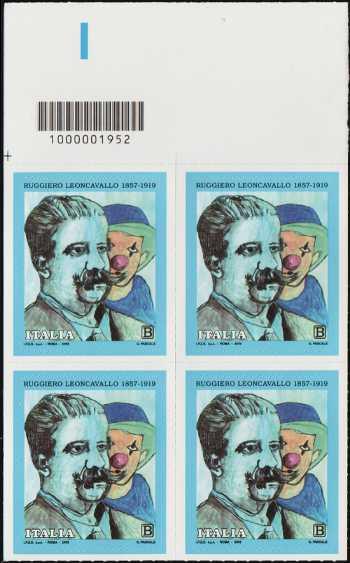Ruggiero Leoncavallo - Centenario della scomparsa - quartina con codice a barre n° 1952