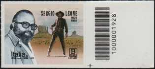 Sergio Leone - 30° Anniversario della scomparsa - francobollo con codice a barre n° 1928 a DESTRA  in basso