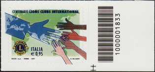 Centenario della fondazione del Lions Clubs International - francobollo con codice a barre n° 1833