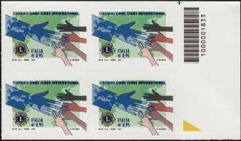 Centenario della fondazione del Lions Clubs International - quartina con codice a barre n° 1833