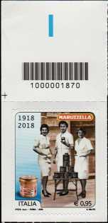 Eccellenze del sistema produttivo ed economico  - Tonno Maruzzella - Centenario della fondazione - francobollo con codice a barre n° 1870 in ALTO a sinistra