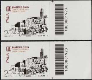 Matera - Capitale europea della cultura 2019 - coppia di francobolli con codici a barra n° 1923  a DESTRA alto-basso
