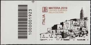 Matera - Capitale europea della cultura 2019 - francobollo con codice a barra n° 1923  a SINISTRA in alto