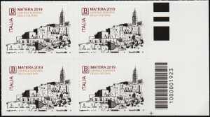 Matera - Capitale europea della cultura 2019 - quartina con codice a barra n° 1923