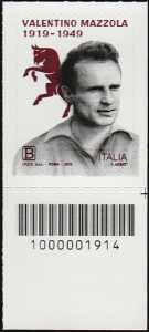 Centenario della nascita di Valentino Mazzola - francobollo con codice a barre n° 1914 in BASSO a DESTRA