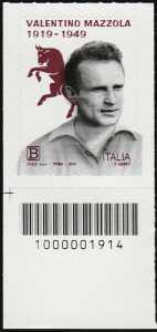 Centenario della nascita di Valentino Mazzola - francobollo con codice a barre n° 1914 in BASSO a SINISTRA