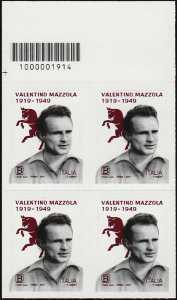 Centenario della nascita di Valentino Mazzola - quartina con codice a barre n° 1914