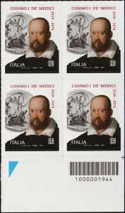 V° Centenario della nascita di Cosimo I de' Medici - quartina con codice a barre n° 1944