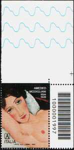 Amedeo Modigliani - Centenario della scomparsa - francobollo con codice a barre n° 1997 in ALTO a destra