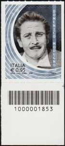 Domenico Modugno - francobollo con codice a barre n° 1853 a DESTRA in basso