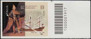 Francesco Morosini - IV ° Centenario della nascita - francobollo con codice a barra n° 1917  a DESTRA in alto