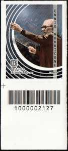 Le Eccellenze italiane dello spettacolo   :  Ennio Morricone - francobollo con codice a barre n° 2127 in BASSO a sinistra