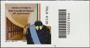 Museo Storico della Guardia di Finanza - 80° della istituzione - francobollo con codice a barre n° 1846