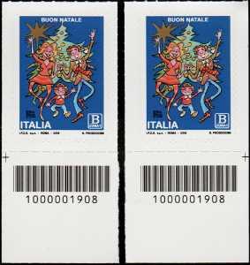 2018 - Natale laico - coppia di francobolli con codice a barre n° 1908 in BASSO a destra-sinistra