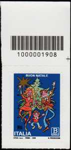 2018 - Natale laico - francobollo con codice a barre n° 1908 in ALTO a destra
