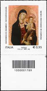 Il Santo Natale - «Madonna col Bambino» di Niccolò di Segna - Museo Diocesano di Cortona - francobollo con codice a barre n° 1789